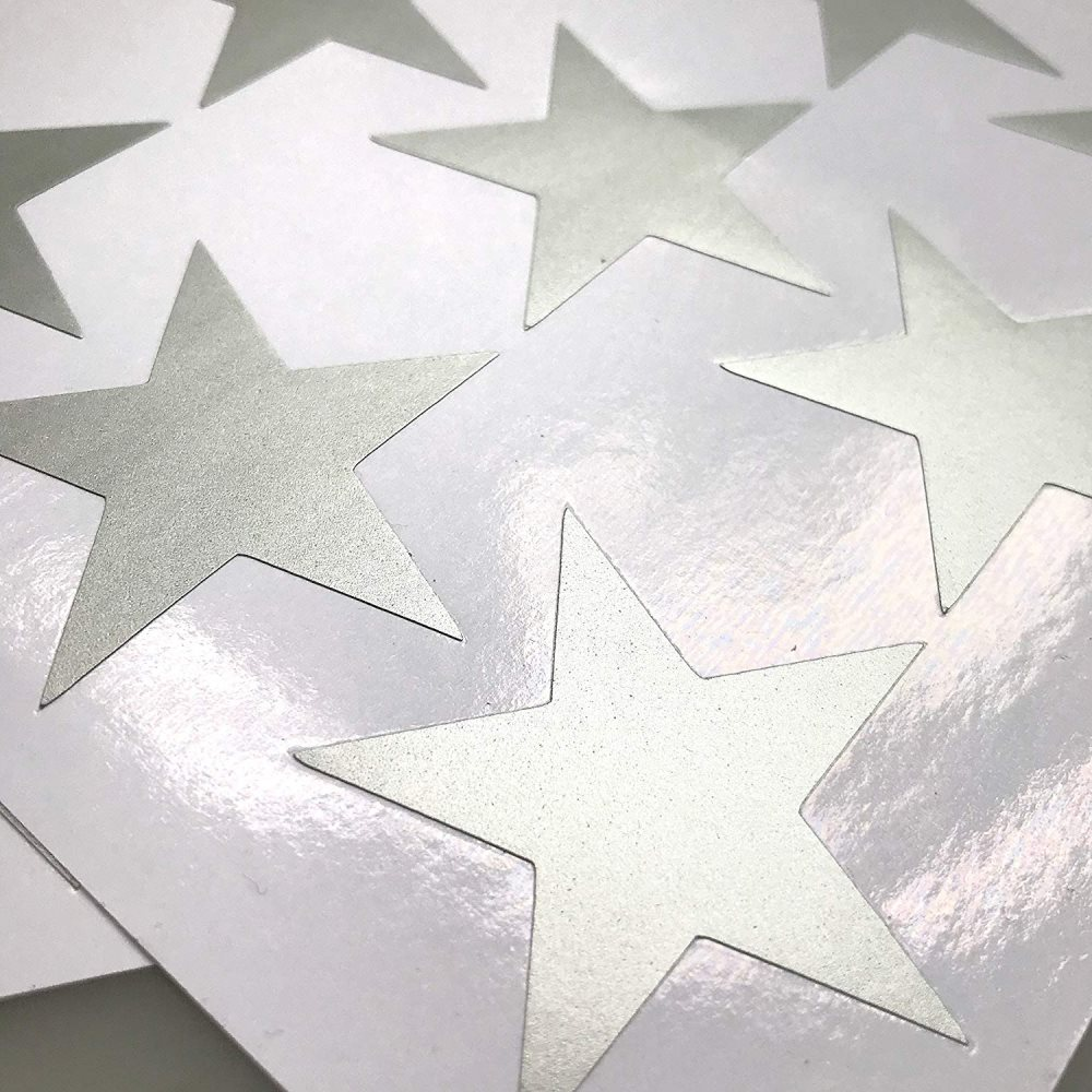 Silver Stars Wall Decals Stickers 134 Silver Stars Painted Walls Metallic Vinyl Polka Wall Decor Sticker for Baby Kids Nursery Bedroom Removable Home Decoration Easy to Peel Stick