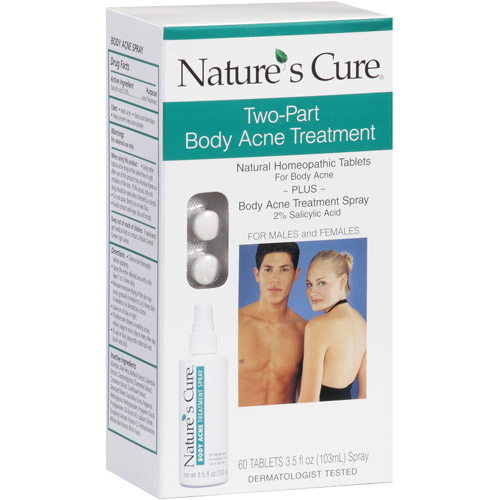 Nature's Cure Two-Part Body Acne Treatment Natural Homeopathic Tablets & Treatment Spray
