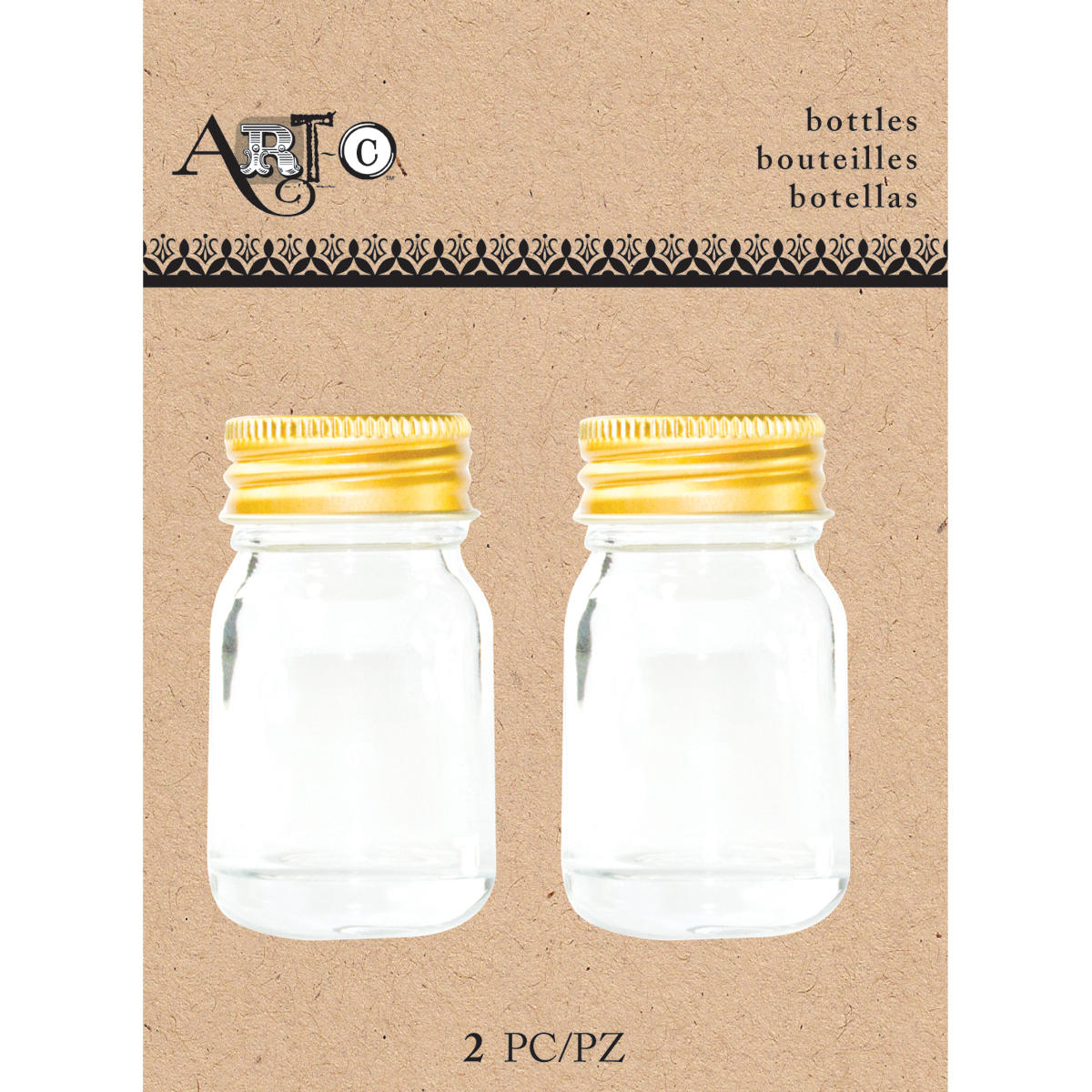 Art-C Mini Glass Bottles, Clear Mason, 2pk