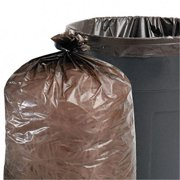 Stor-A-File T3340B15 Total Recycled Content Trash Bags  33 gal  1.5mil  33 x 40  Brown  100/Carton