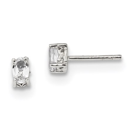 Sterling Silver Rhodium-plated 5x3mm Oval White Topaz Post