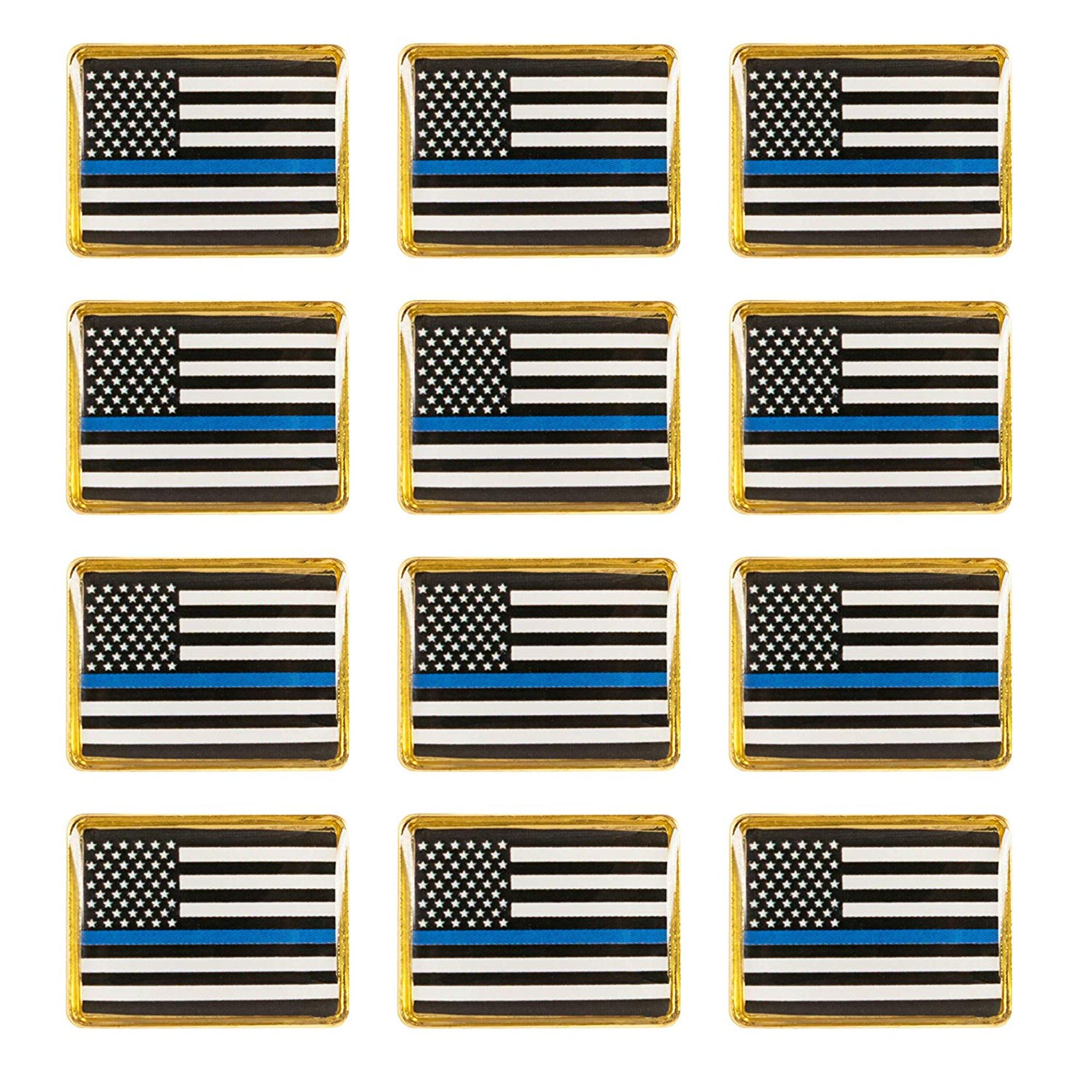 Pack of 2 Thin Blue Line Flag Lapel Pins//Support Law Enforcement
