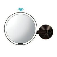 simplehuman Wall Mount Sensor Makeup Mirror, Dark Bronze Steel