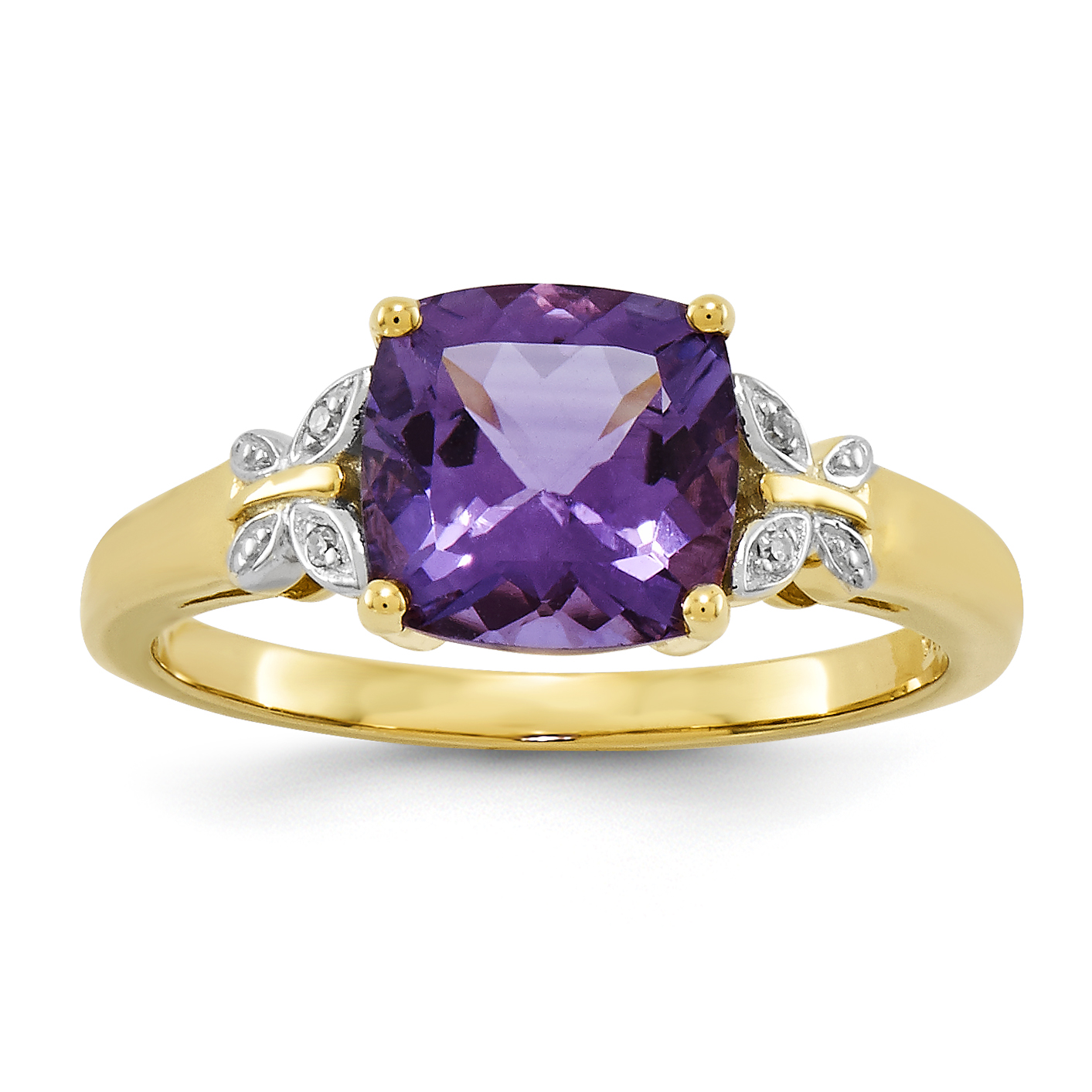 14k Diamond and Amethyst Square Ring by Jewelrypot