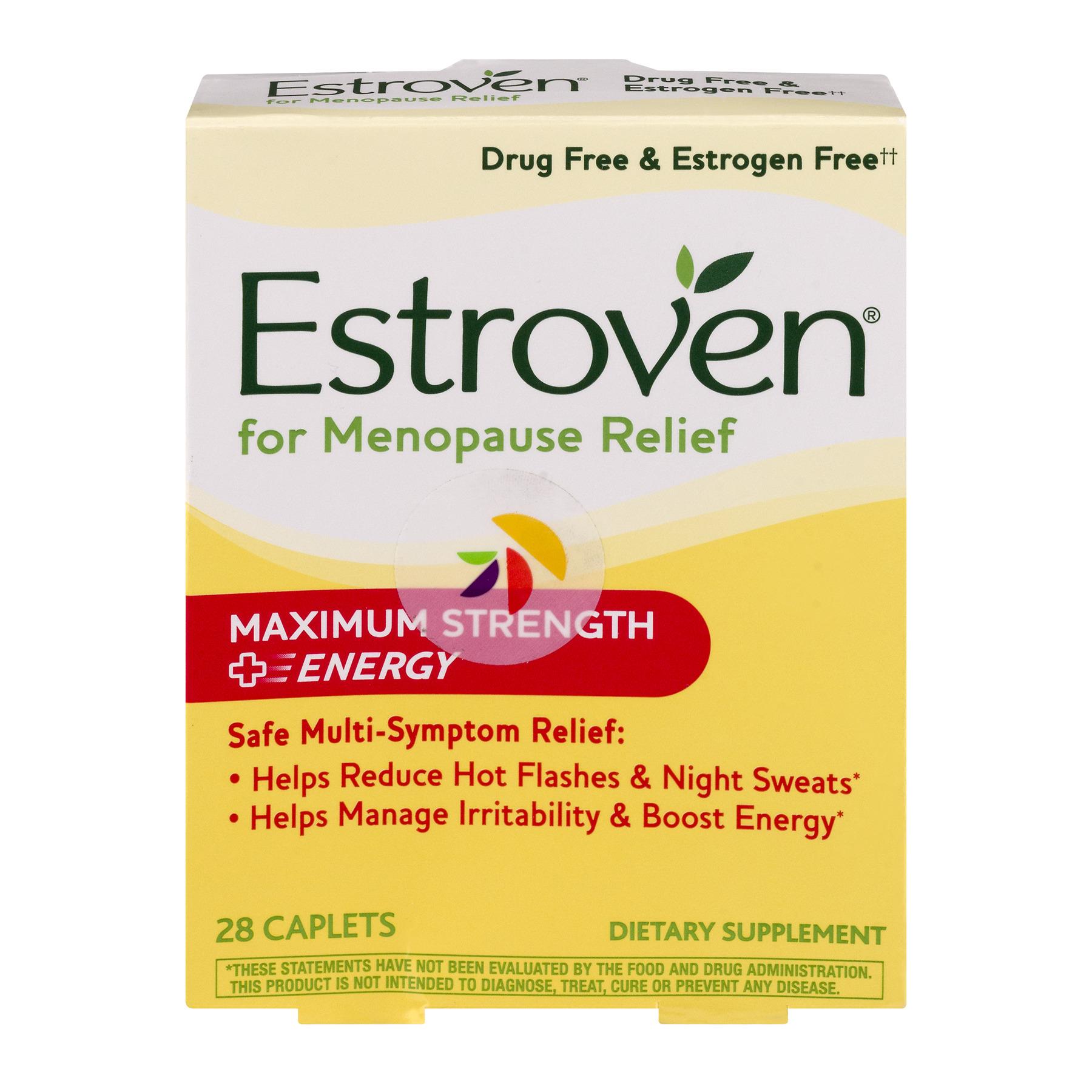 Estroven Maximum Strength + Energy for Menopause Relief Caplets, 28 count