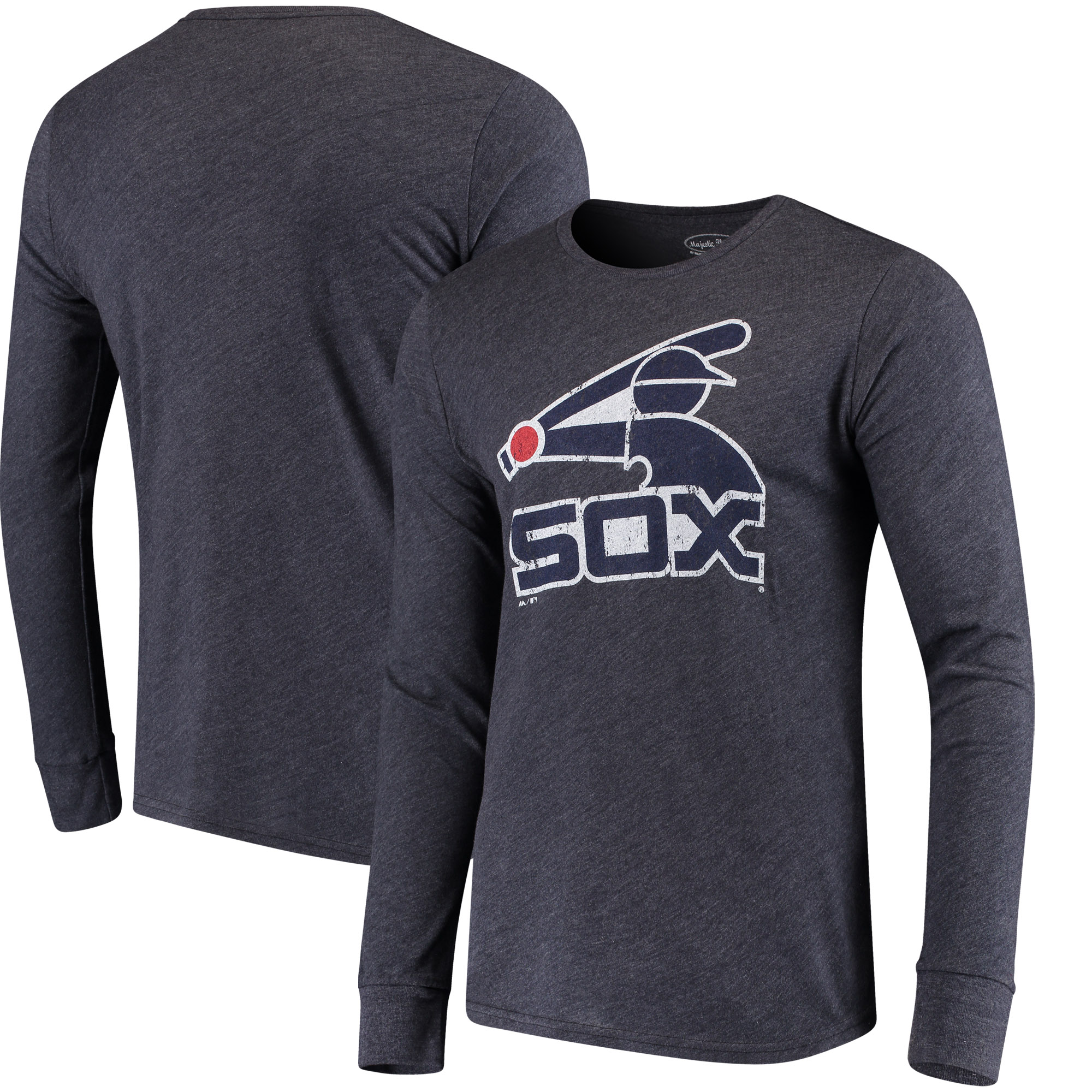 Men's Majestic Threads Heathered Navy Chicago White Sox Tri-Blend Long Sleeve T-Shirt