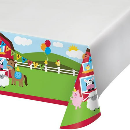 Party Creations Farmhouse Fun Plastic Tablecover, Border Print, 54