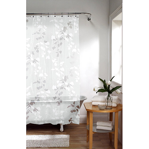 Linden Leaf Shower Curtain, White With Leaf Print