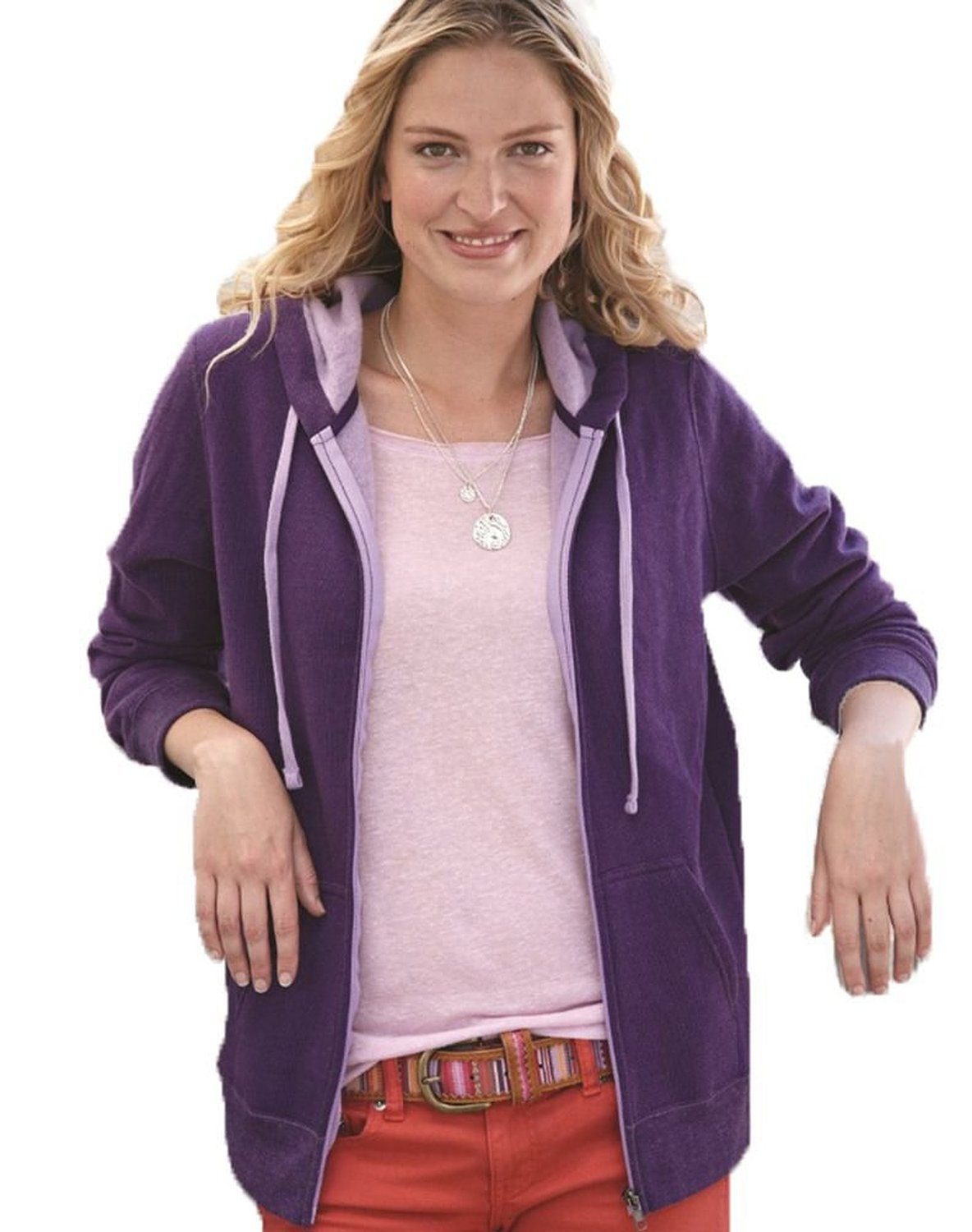 Independent Trading Co. Juniors Two-Tone Deluxe Fleece, Large Grape/orchid