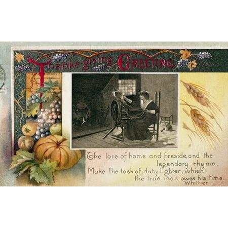 24 Art Postcards - Thanksgiving Card 1909 Namerican Postcard 1909 Rolled Canvas Art -  (24 x 36)