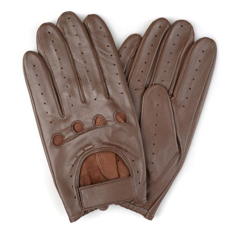 Mens Genuine Leather Perforated Motorcyle Driving Gloves ()