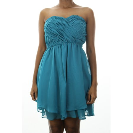 Hailey Logan Juniors Teal Strapless Pleated Front A-Line Party Dress 11-12