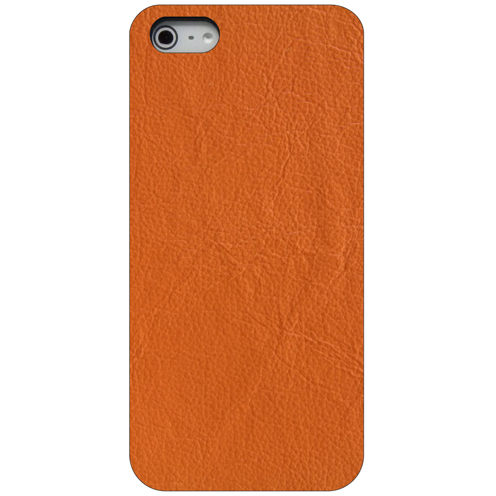 CUSTOM Black Hard Plastic Snap-On Case for Apple iPhone 5 / 5S / SE - Orange Leather Texture