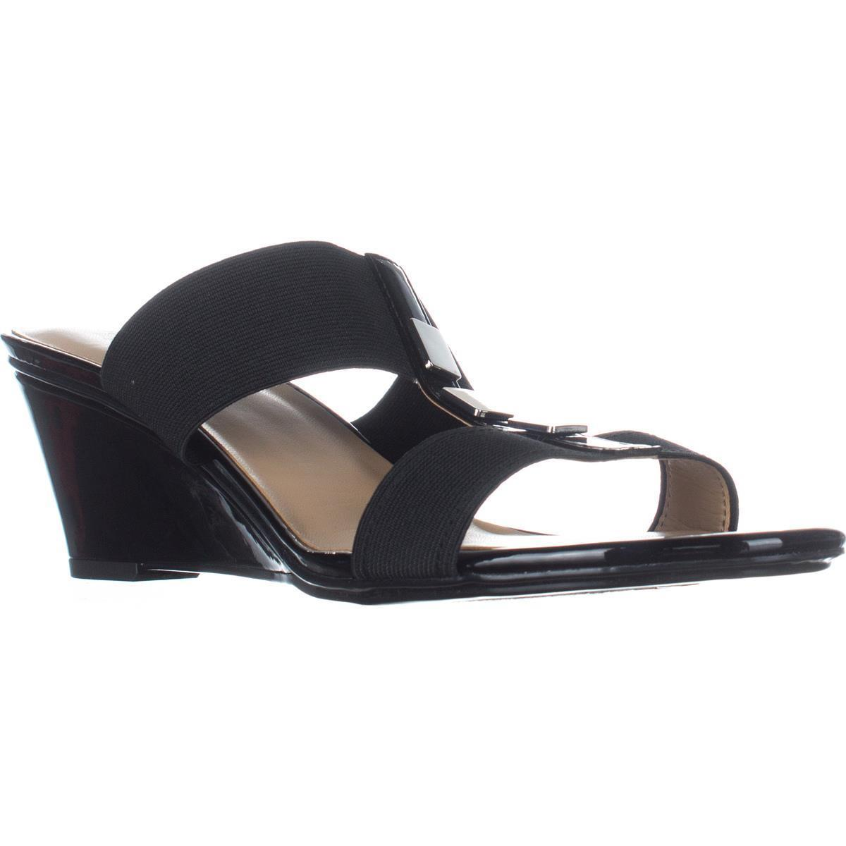 Womens Naturalizer Hayden T-Strap Wedge Sandals, Black by Naturalizer
