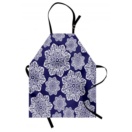 Navy Blue Apron Floral Lace Graphic Print Snowflake Themed Pattern Ornate Circle Batik Texture, Unisex Kitchen Bib Apron with Adjustable Neck for Cooking Baking Gardening, Blue White, by Ambesonne ()