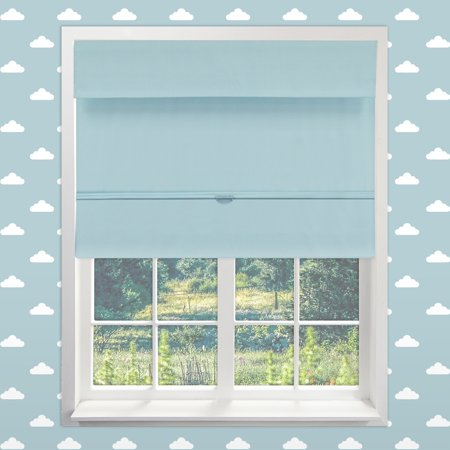 Chicology Cordless Magnetic Roman Shades, Room Darkening Fabric Window Blind, Baby Blue (Thermal) - 23