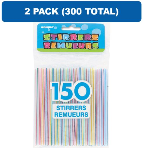 (2 Pack) Plastic Coffee Stirrers, Assorted, 150ct