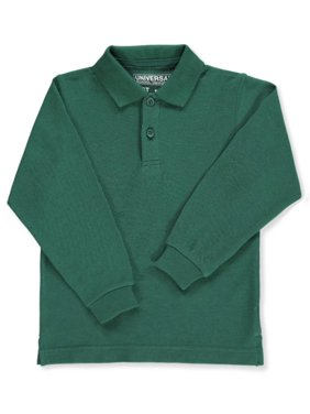Unisex Boys Girls Long Sleeve Pique Polo Shirt w/Stain Release (2T-20)