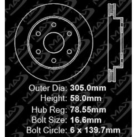 Max Brakes Front Performance Brake Kit [ Premium Slotted Drilled Rotors + Ceramic Pads ] KT012631 | Fits: 1999 99 2000 00 GMC Sierra 1500 6 Lugs Rear Disc Brakes - image 5 of 8