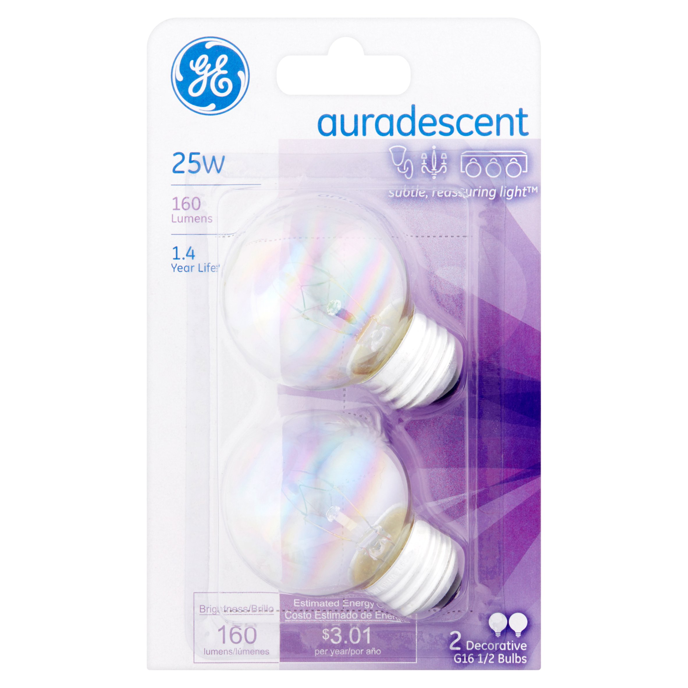GE Auradescent 25W Decorative G16 1/2 Bulbs, 2 count