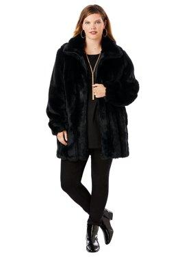 Roaman's Plus Size Short Faux-fur Coat