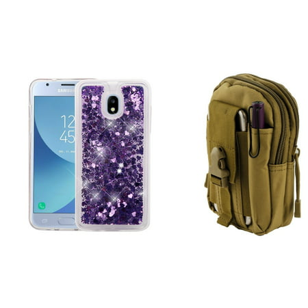 Bemz Liquid Glitter Quicksand Protective Cover Case (Purple Love Hearts) with Khaki Tactical EDC MOLLE Waist Bag Holder Pouch and Atom Cloth for Samsung Galaxy J3 Star J337T (T-Mobile)