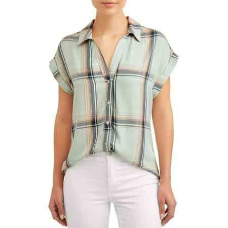 Women's Short Sleeve Plaid Top (Factor Plaid Shirt)