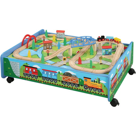 62-Piece Wooden Train Set with Train Table/Trundle, BRIO and Thomas and Friends Compatible (Brio Sky Train)