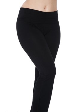 698c48ad8c82c9 Product Image TheLovely Women's Yoga Pants Fold-Over Waistband Flared Boot  Leg Black & Grey Leggings