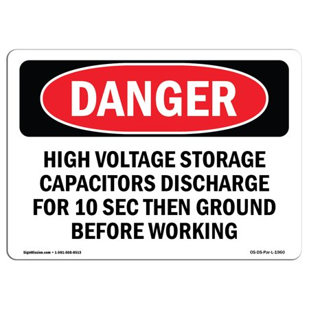 Danger High Voltage Tabs - OSHA Danger Sign - High Voltage Storage Capacitors Discharge 14