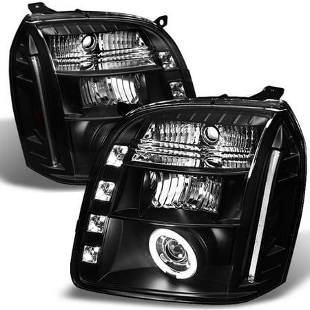 Fits 07-12 GMC Yukon Denali Black CCFL Halo Projector LED Headlights Left+Right Ccfl Led Projector Headlights