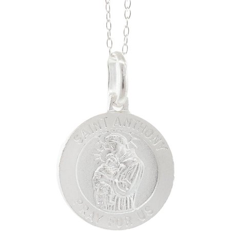 Pori Jewelers Italian Sterling Silver Saint Anthony Medallion Charm Pendant Necklace, 16""