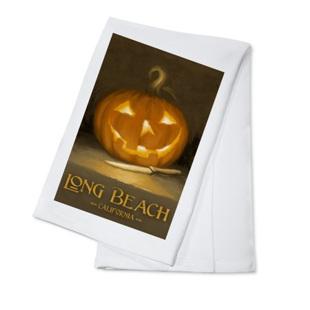Long Beach, California - Jack-O-Lantern - Halloween - Oil Painting - Lantern Press Artwork (100% Cotton Kitchen Towel) - Nature Center Long Beach Halloween
