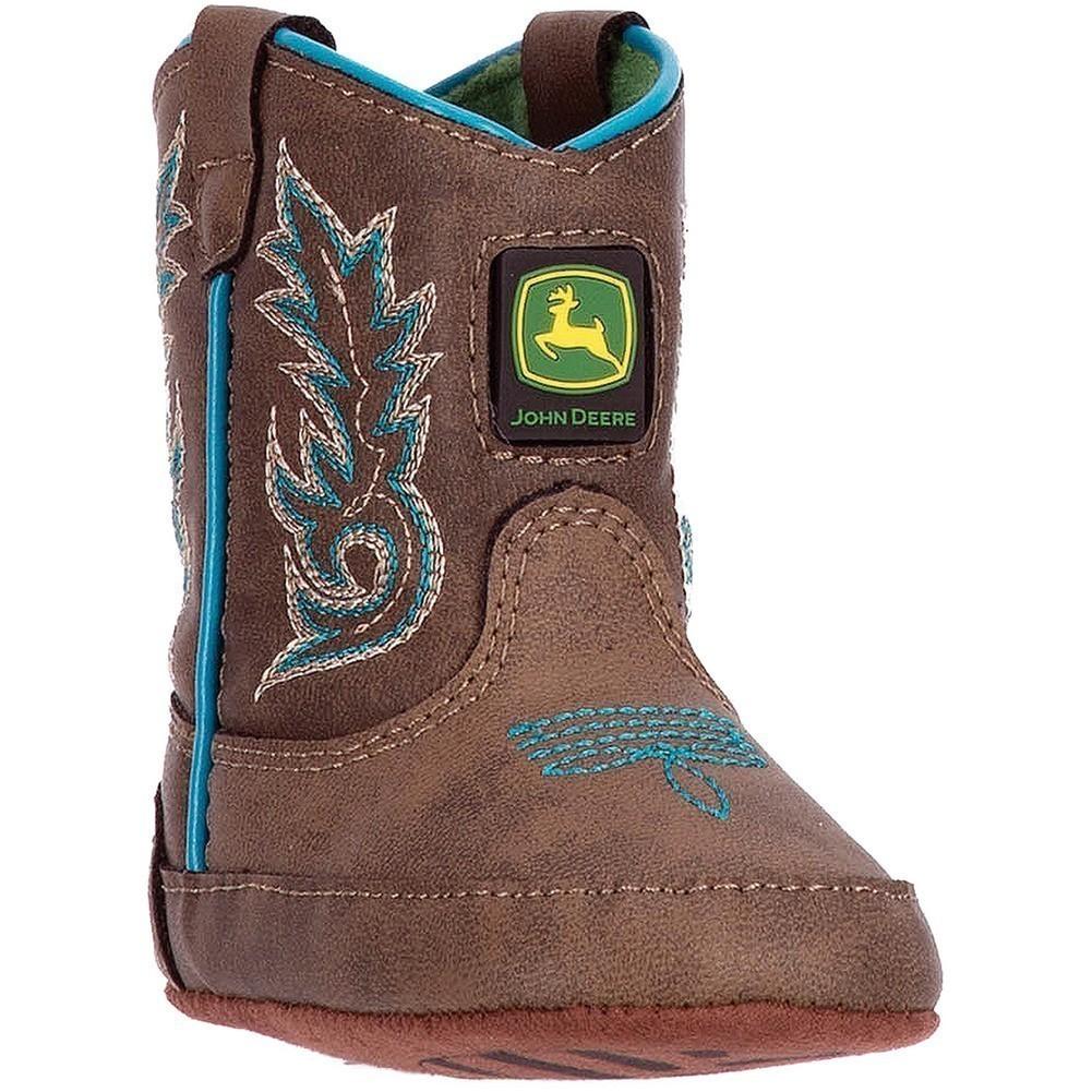 John Deere Boys Brown Turquoise Stitch Pull-On Crib Boots by John Deere