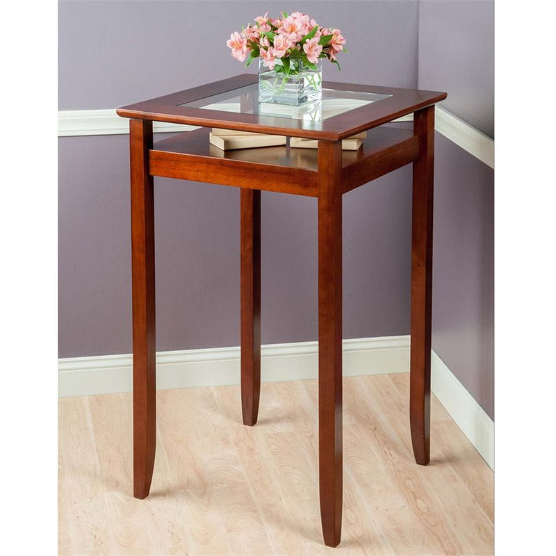 Halo Pub Table with Glass Inset and Shelf, Walnut by Winsome