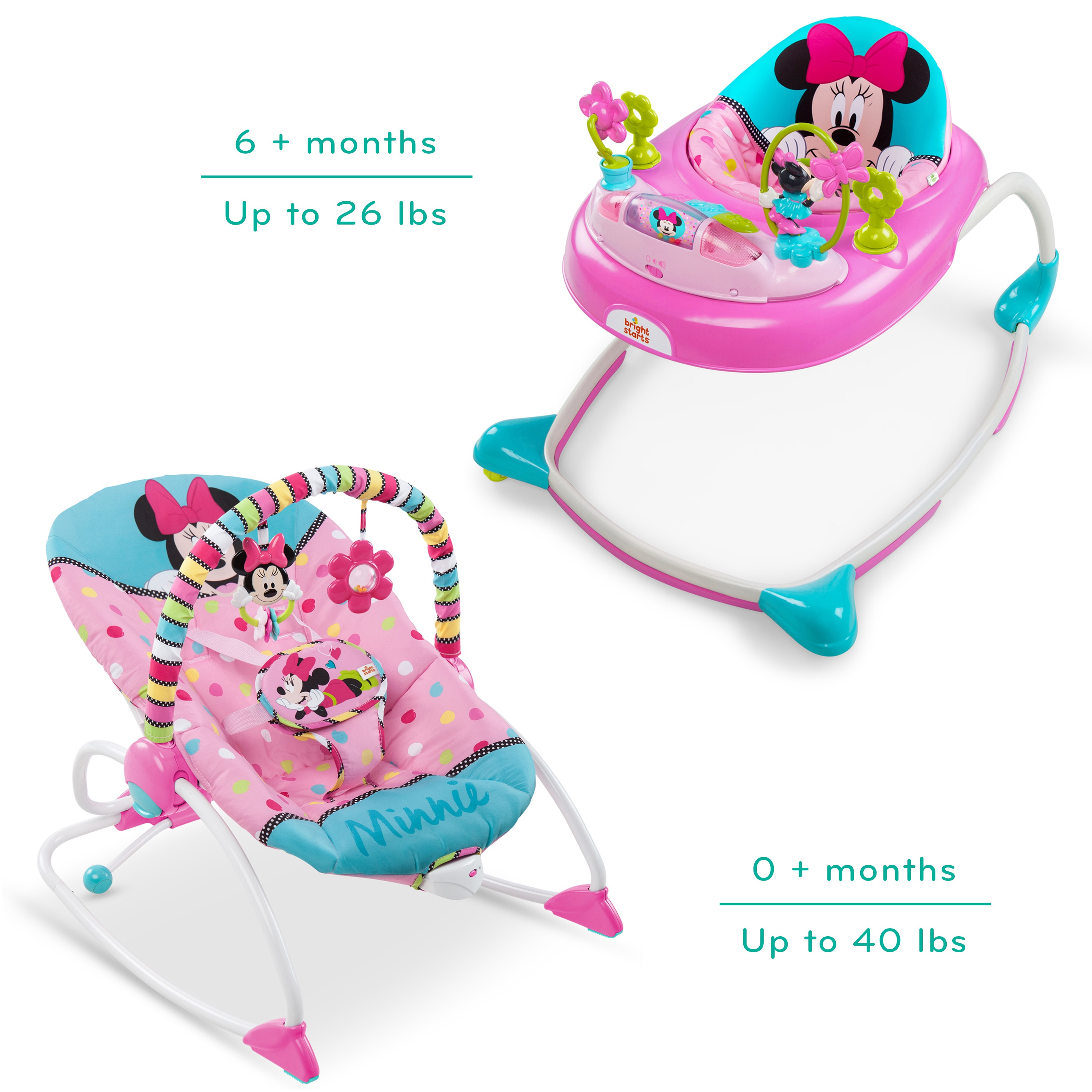 Disney Baby Minnie Walker And Rocker Bundle