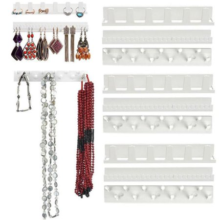 Cluxwal 9-piece Set Jewelry Sticky Hooks Earring Necklace Holder Organizer Jewelry Rack Sticky Hooks Adhesive Wall Mount