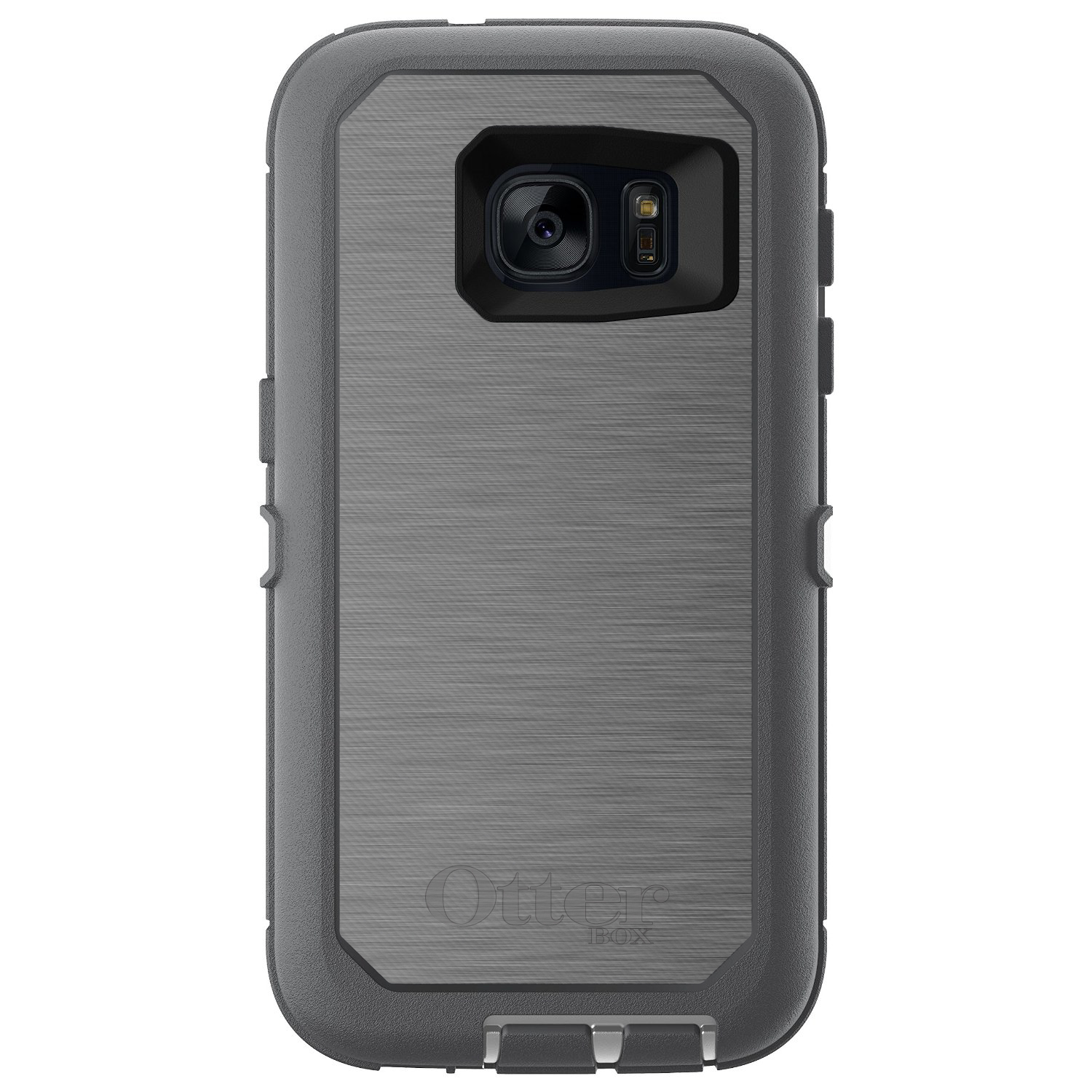 DistinctInk™ Custom Grey OtterBox Defender Series Case for Samsung Galaxy S7 - Grey Silver Stainless Steel Print Print