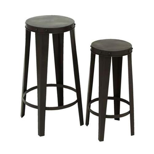Metal Bar Stool in Modern Black and Polished Finish - Set of 2