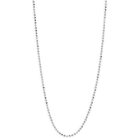 Italian Sterling Silver Diamond-Cut Bead Chain Necklace, 24
