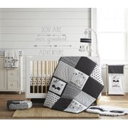 Levtex Baby - Allistar Crib Bed Set - Baby Nursery Set - Black and White - Animals - 4 Piece Set Includes Quilt, Fitted Sheet, Wall Decal & Dust Ruffle