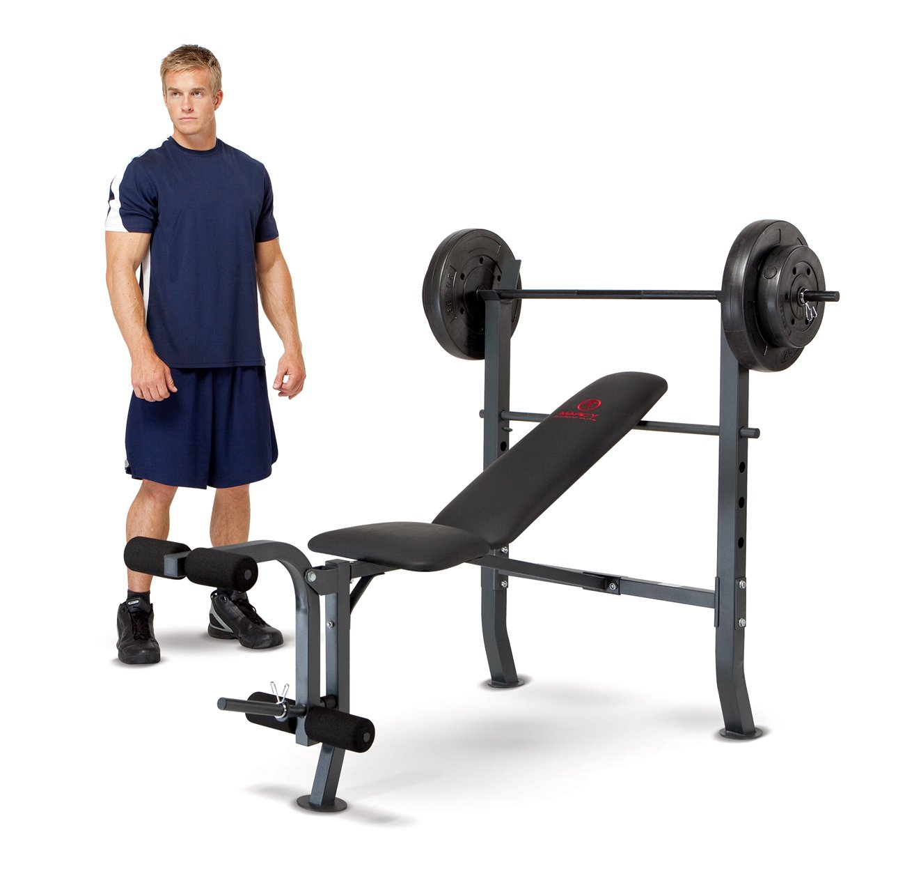 Marcy Standard Bench with 80 lb Weight Set Home Gym Workout Equipment | MD2080