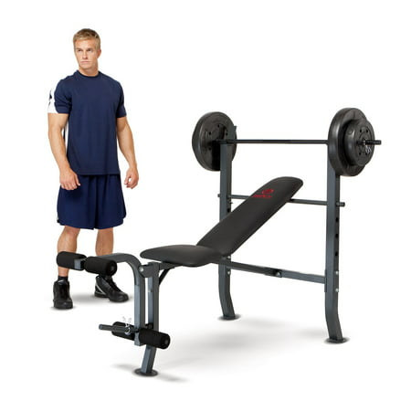 Marcy Standard Bench With 80 Lb Weight Set Home Gym Workout Equipment Md2080