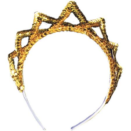 Sequin Tiara Adult Halloween Accessory Gold Sequin Tiara