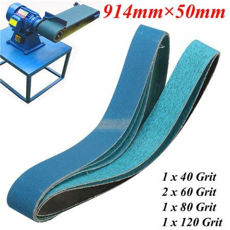 36 Inch 40, 60, 80, 120 Grits Metal Grinding Zirconia Sanding Belts 5 Pack - image 5 of 5