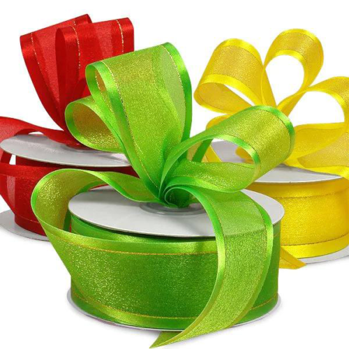 Gold Edged Sparkle Center Arabesque Ribbon 1-12 Inch DIY Double face Satin Ribbon