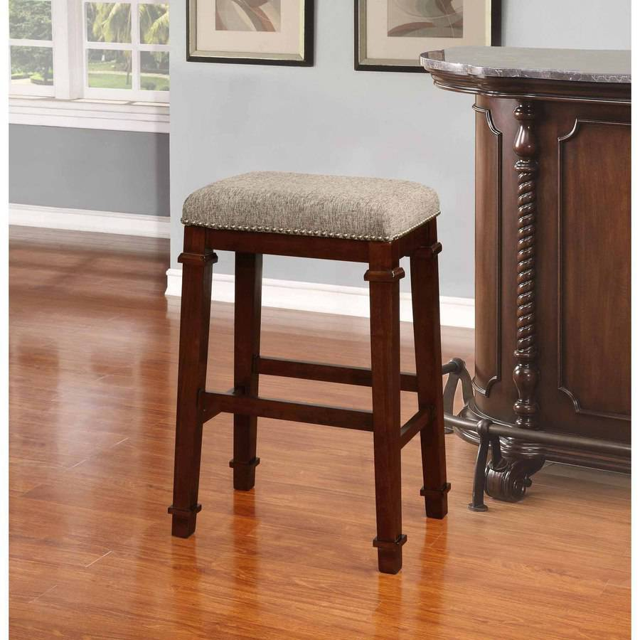 Linon Kennedy Backless Bar Stool 30 Inch Seat Height Walnut Finish