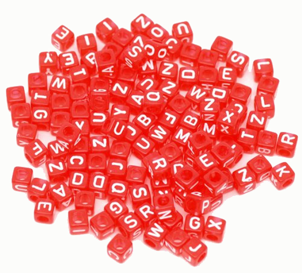 "450 Mixed Red Acrylic Alphabet /Letter ""A-z"" Cube Spacer, Loose Beads, 6mm 1/4 inch"