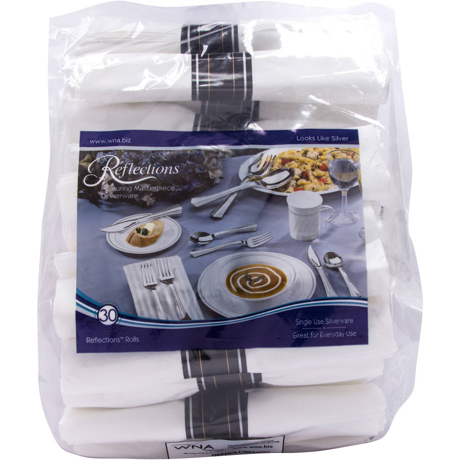 WNA Reflections Featuring Masterpiece Dinnerware Plastic Cutlery Rolled Kit, 30 pc