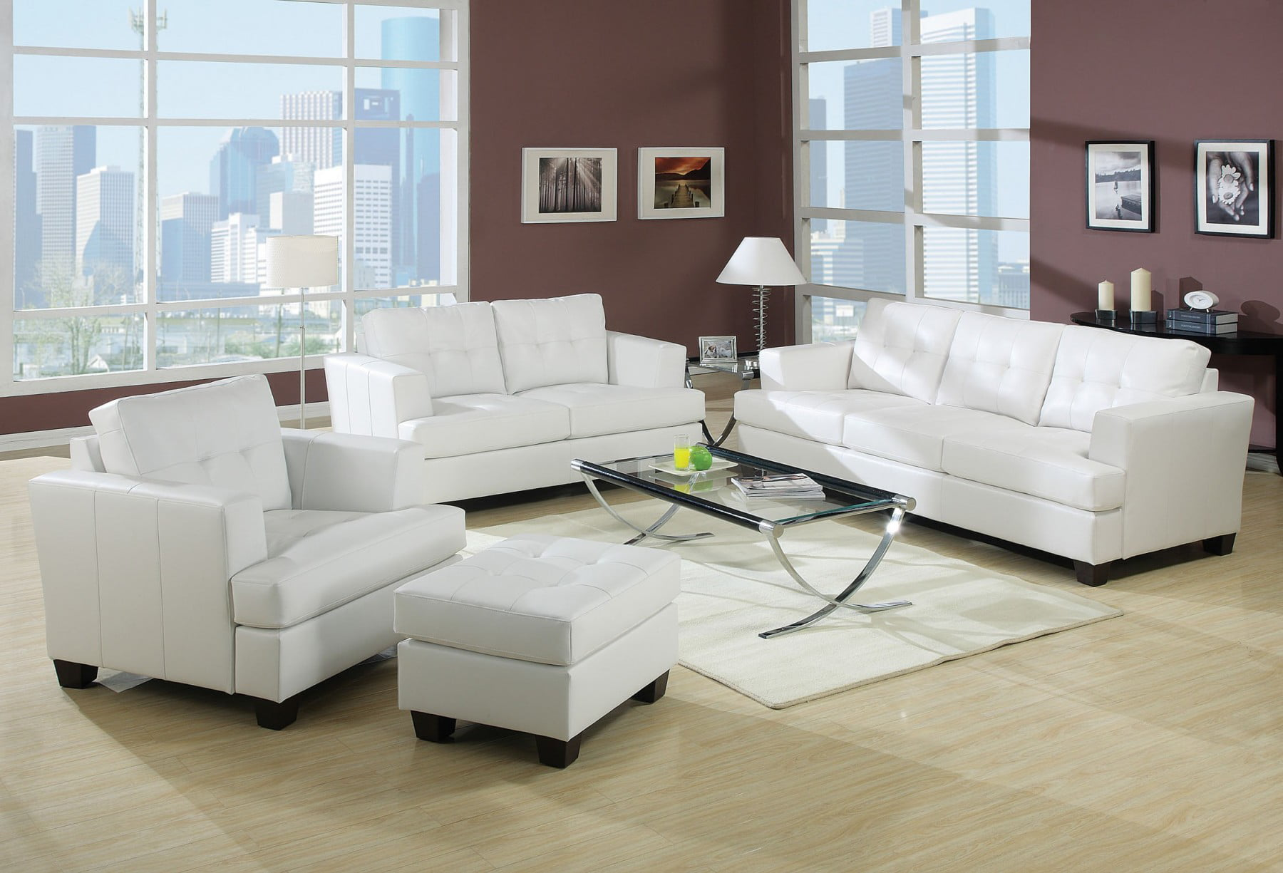 Acme Platinum White Sofa Set Sofa Loveseat Chair Contemporary White ...